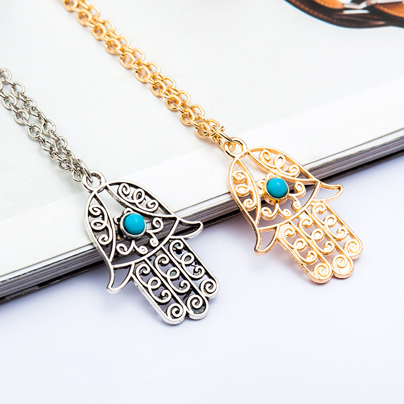 2016 new vintage brand design goldsilver plated luck hamsa hand 2016 new vintage brand design goldsilver plated luck hamsa hand pendant necklace luck fatima hand palm statement necklace in pendant necklaces from jewelry mozeypictures Image collections