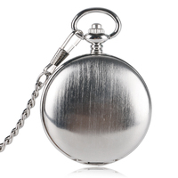 Unique Silver Smooth Double Cover Mechanical Pocket Watch Men S Creative Hollow Skeleton Clock Hand Winding