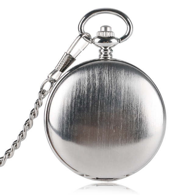 Unique Silver Smooth Double Cover Mechanical Pocket Watch Men's Creative Hollow