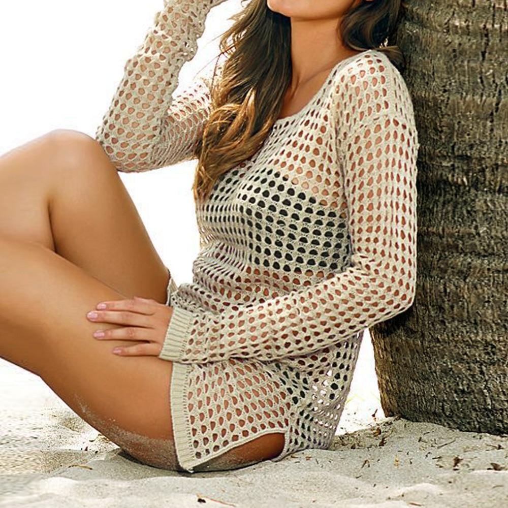 beach cover up Brand New Summer Women Sexy Mesh Knitted Crochet Swimsuit Dress Bikini Wrap Bathing Suit Cover Ups 4
