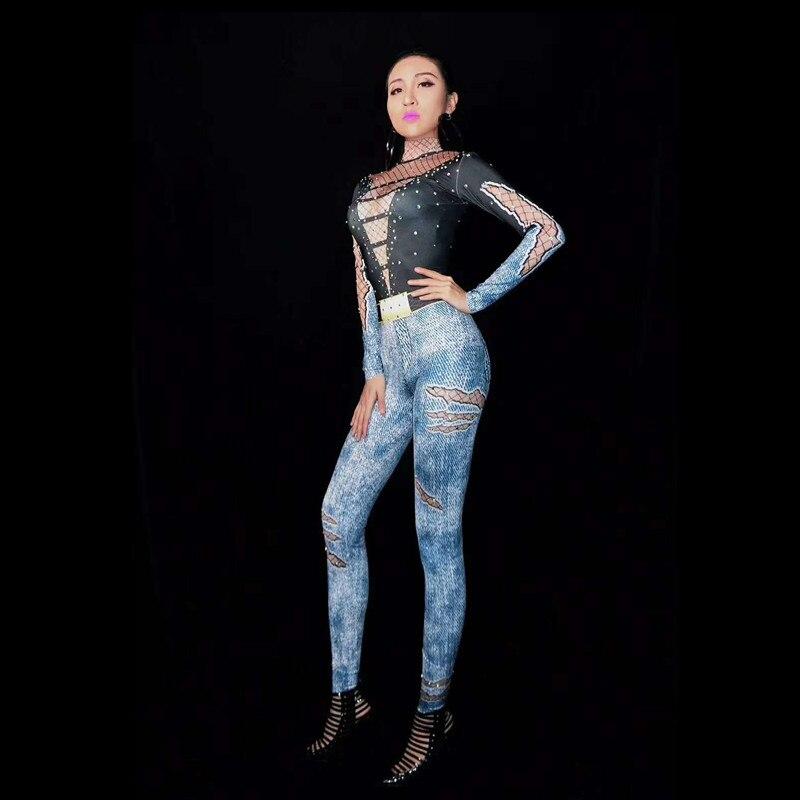 Pole Sexy Combinaisons Discothèque Bella Dance Christia Chanteur Salopette Stretch Costumes Femmes Justaucorps Performance Multi Stade Impression p7xTqA