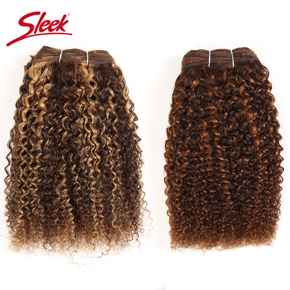 Sleek Afro Kinky Weave Curly Hair 1 Piece Ombre Mongolian Human Hair Weave Bundles Deal #P4/27 #F4/30# P4/30 Remy Hair Extension(China)