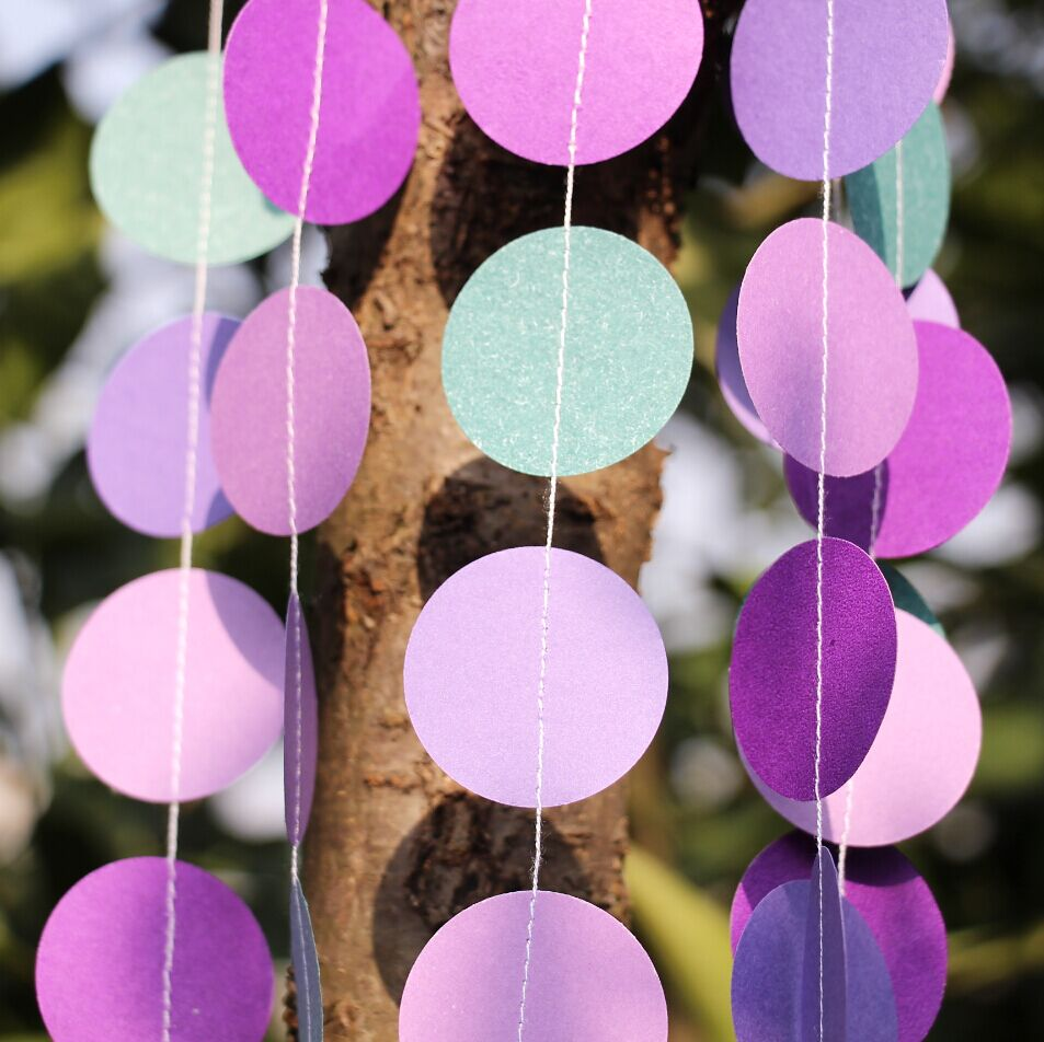 5pcslot wedding garland purple paper garland peacock wedding baby shower mermaid party decorin party backdrops from home u0026 garden on