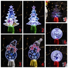 3D Kid Room Acrylic LED Night Light Christmas Tree Stocking Shaped Battery Table Lamp Xmas Color Changed Y