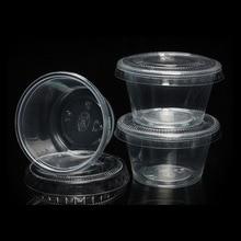 200 Set Disposable Plastic Cups with lid Pudding jelly Bowl Dessert yogurt sauce box party Festival Wedding 1/2/3/4/5/6oz