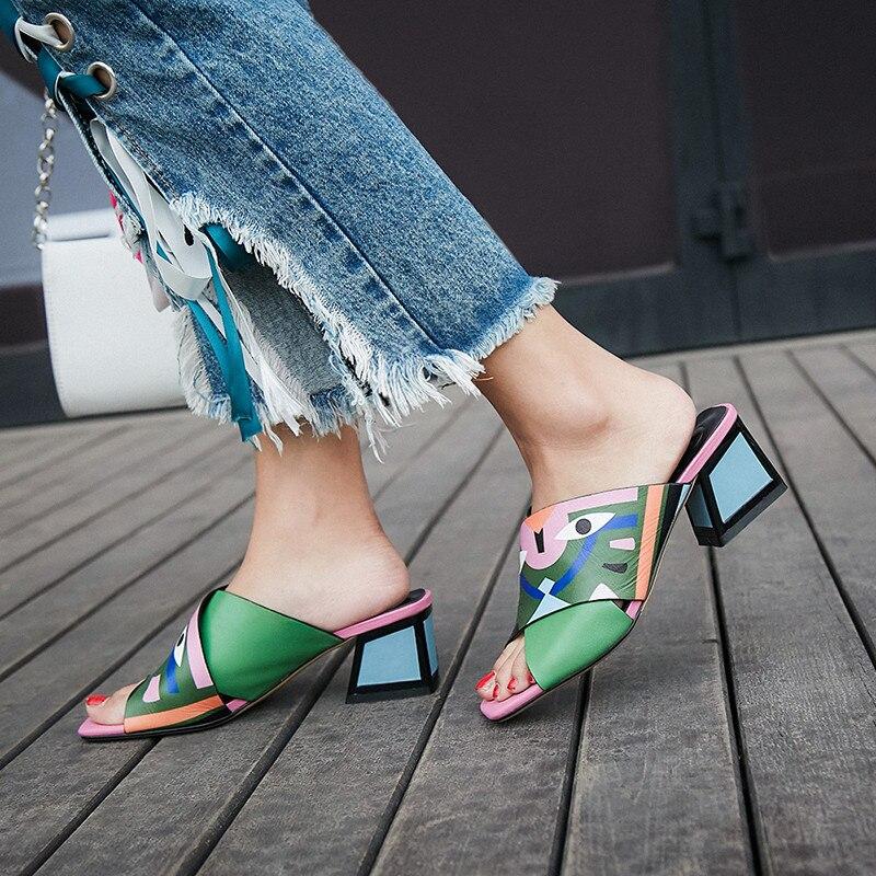 2019 Size 34 43 top quality genuine leather women sandals fashion square heels summer shoes shallow unique mules shoes woman
