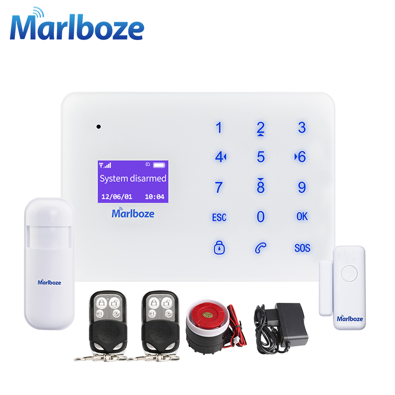 Marlboze A2 Super Thin Home Security GSM Alarm Systems LCD Touch Keyboard APP Remote Control Wireless Door Sensor PIR Sensor kit