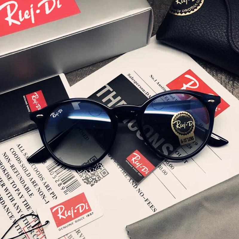 Brand Designer 2180 Unisex Round Sunglasses Women Glass Lens