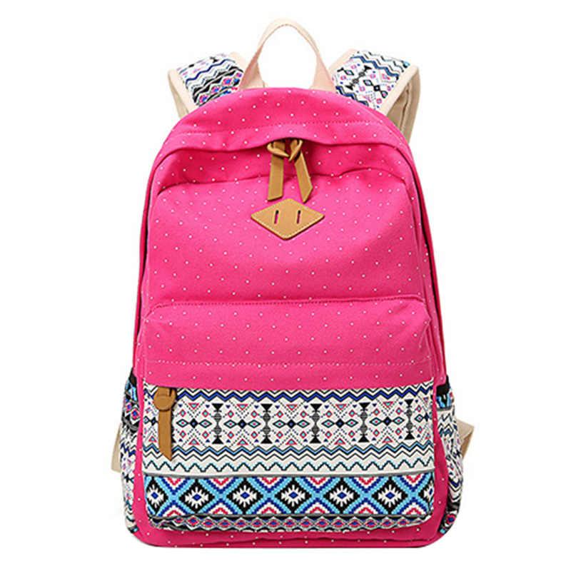 c74e314fd96 ... Polka Dot impresión mujeres mochila Linda bolsa de lona ligera media  alta escuela bolsas para adolescentes ...