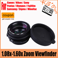 1.08x-1.60x Зум Окуляра Видоискателя Лупа для Canon Nikon Pentax Sony Olympus Fujifilm Samsung Sigma ЗЕРКАЛЬНЫЕ ФОТОКАМЕРЫ
