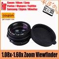 1.08x-1.60x zoom visor de la lupa del ocular para canon nikon pentax sony olympus fujifilm samsung sigma slr cámaras