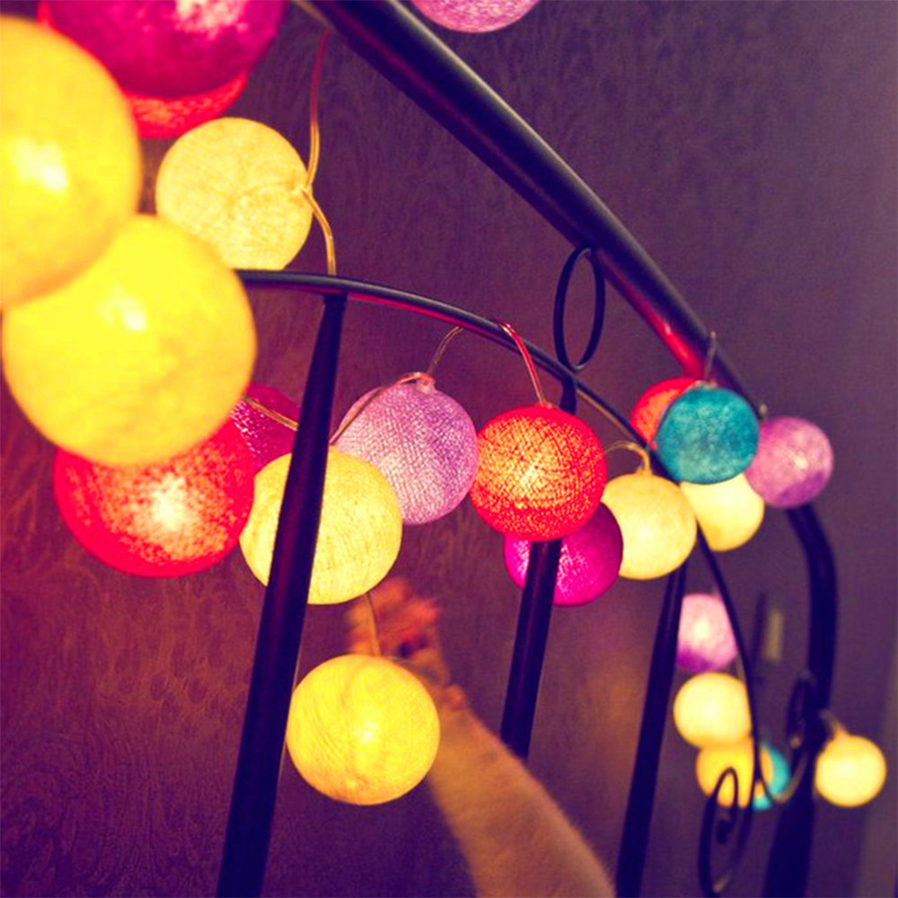 String lights for kids bedroom - 3m 20leds Multicolor Creative Cotton Ball Light String Luces Rgb Litghing Xmas Fairy Lights For Kids Bedroom Home Decor