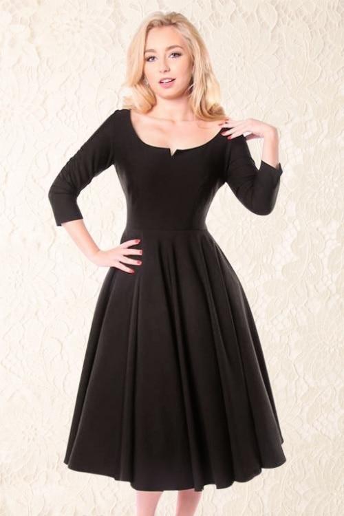 Black dress 3 4 sleeve vintage dresses