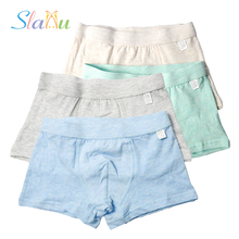 4-Pack Soft Organic Cotton Kids Boys Underwear Shorts Panties Pure Color Baby Boxer Children Teenager Underwear Underpant 2-16 T