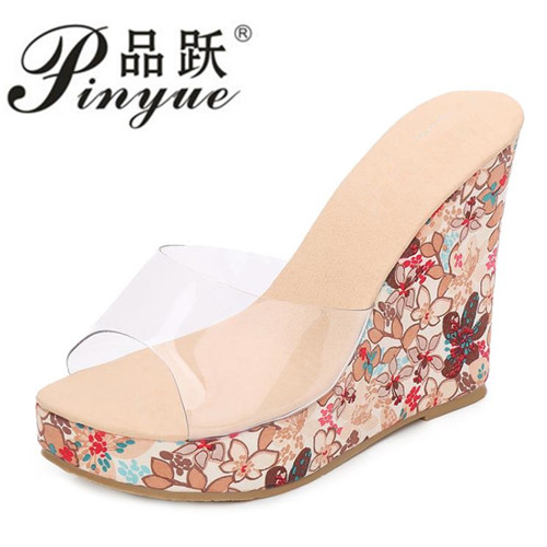 Summer Fashion High Heel Wedge Slippers PVC Clear Transparent Shoes Woman Platform Wedge ...