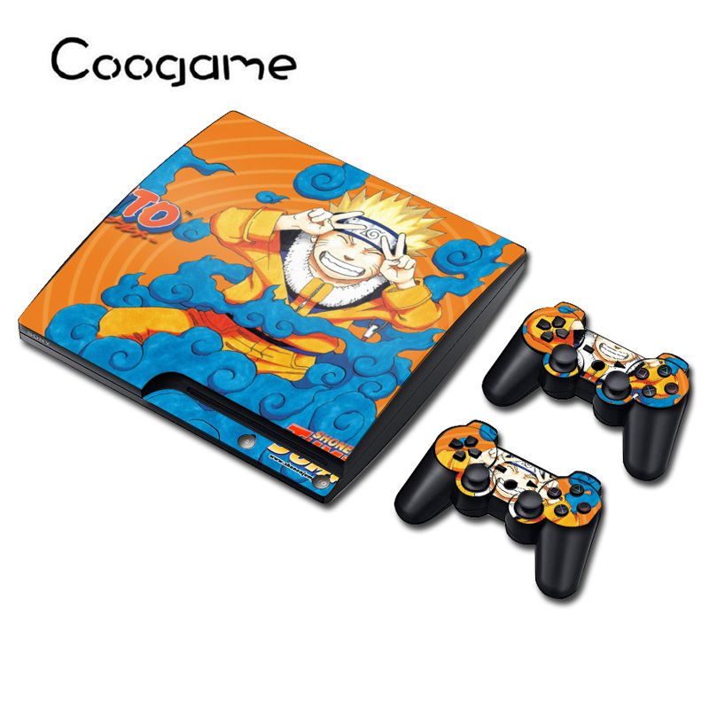 6 Style Uzumaki Anime Stickers Film For Sony PS 3 Slim Console & 2 Pads For Play station 3 Slim Control Custom Decal