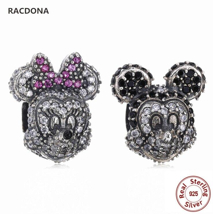 Retro Authentic 925 Sterling Silver Charm Mickey & Minnie Bead With Zircon Fit Original panqiou Charm Bracelet DIY Fine Jewelry