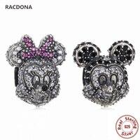 Retro Authentic 925 Sterling Silver Charm Mickey & Minnie Bead With Zircon Fit Original pandora Charm Bracelet DIY Fine Jewelry