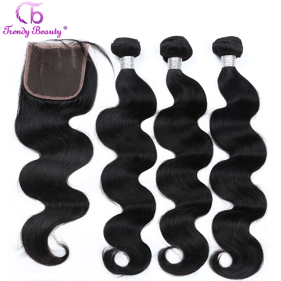 Peruvian body wave human hair extensions double weft 3 bundles with 1pc lace closure natural black