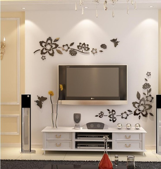 Free shipping TV backing wall mirror sticker , 3D home ...