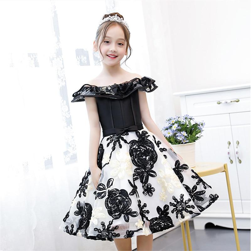 Summer New Children Girls Princess Flowers Dress For Birthday Evening Party Kids Teens Host Piano Ball Gown Shoulderless Dress цена 2017