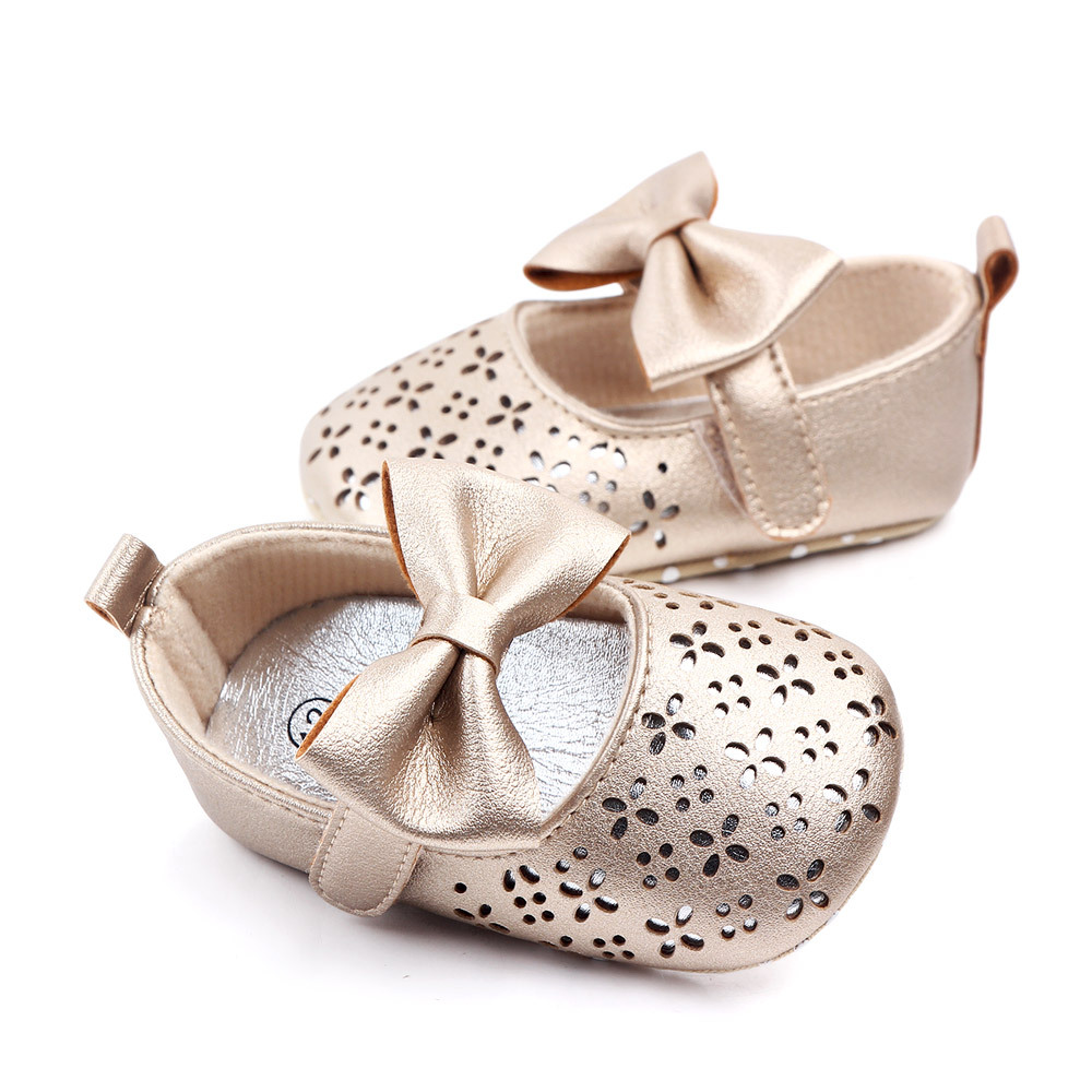 Baby Girls First Walker Summer Anti-slip Soft Bottom Girl Princess Shoes Big Bow Hollow Out Baby Shoes Wedding Party Shoes