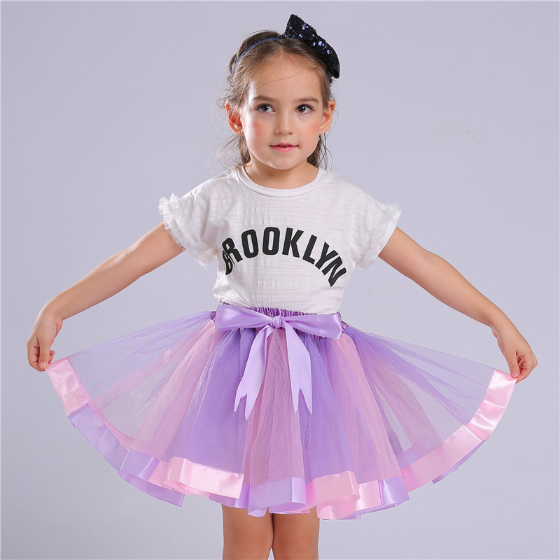 Cute Pink Purple Princess Tutu Skirt 3 8 Years Girls Kids Party Ball Gown Skirts Children Mini Pettiskirt For Dance Clothings in Skirts from Mother Kids
