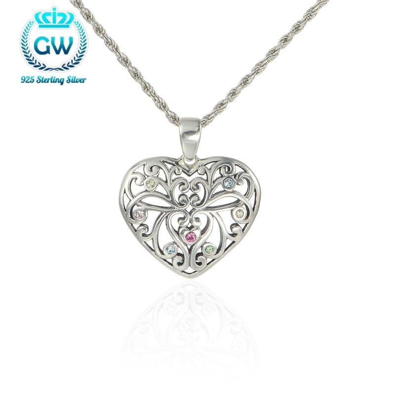 c2bef27920d7 Corazón hueco Collares Colgantes Pure 925 Collar de plata colgante de corazón  mujeres marca GW joyería pety008