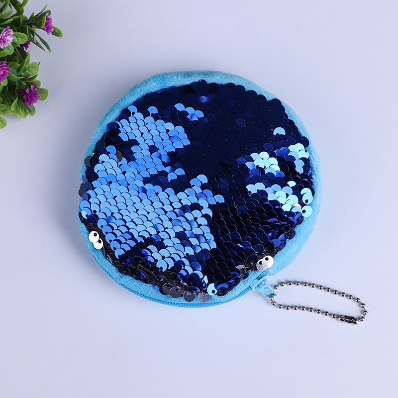 Reversible Sequins Purse Glitter Mermaid Storage Bag Round Women