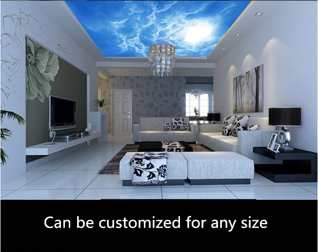 Custom 3D ceiling wallpaper,blue sky and white clouds murals for the living room bedroom ceiling wall waterproof papel de parede european church square ceiling frescoes murals living room bedroom study paper 3d wallpaper