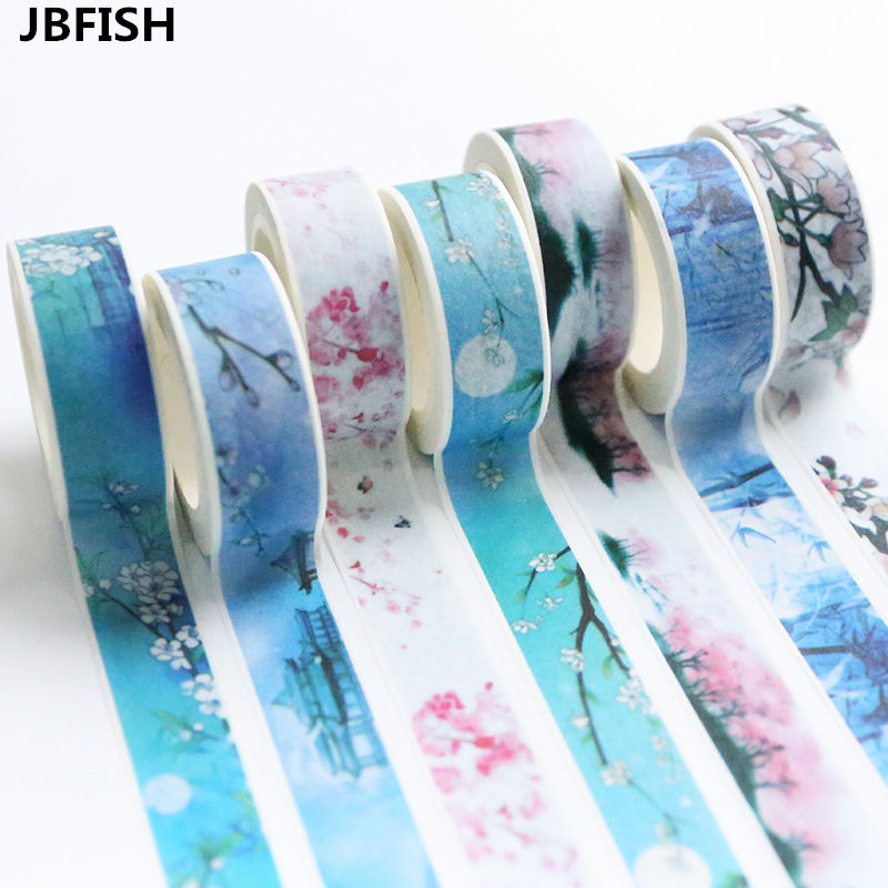 JBFISH Happy life paper washi tape set 15mm*7m masking decoration tapes Go Travel stickers Scrapbooking School supplies 3100C 12pcs lot vegetab fruit plant paper masking tape japanese washi tapes set 3cm 5m stickers kawaii school supplies papeleria 7161