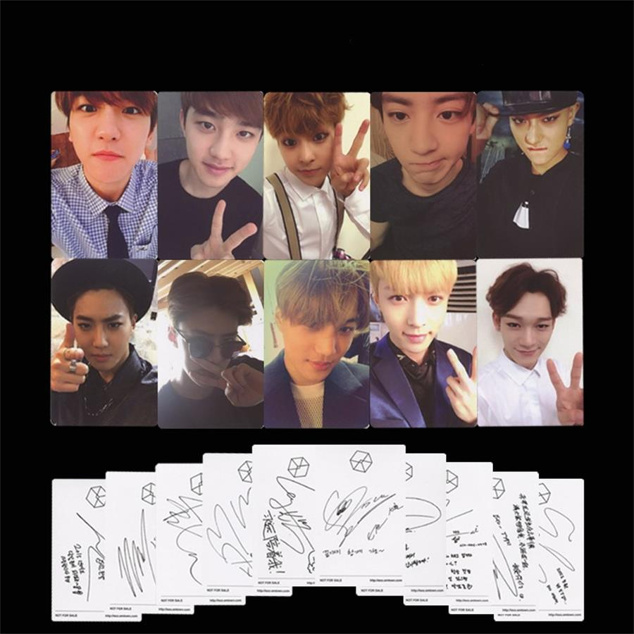 Generous Kpop Exo Exodus Paper Photo Cards Baekhyun Kai Self-made Autograph Photocard Poster 10pcs Jewelry Findings & Components Beads & Jewelry Making