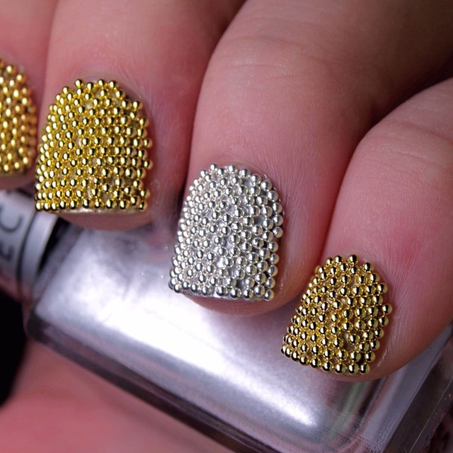Online Shop 2 pots gold silver mini metallic caviar nail beads for ...