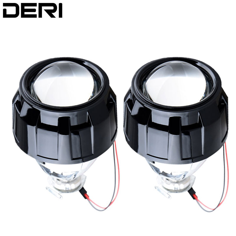 Mini 2.5 inch HID Bi xenon Headlight Projector Lens Retrofit H7 H4 Headlamp Lenses with H1 Led Xenon Headlight Bulbs Car Styling