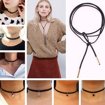 90 s inspired gothic lolita punk choker necklace black velvet suede steampunk torques jewelry statement colar.jpg 350x350