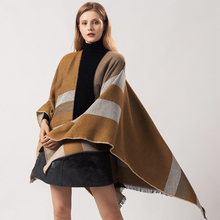 Solid Simple Ponchos Women Winter Scarf Blanket Brand Designer Shawls and Wraps Large Pashmina Geometric Striped Echarpe Cape