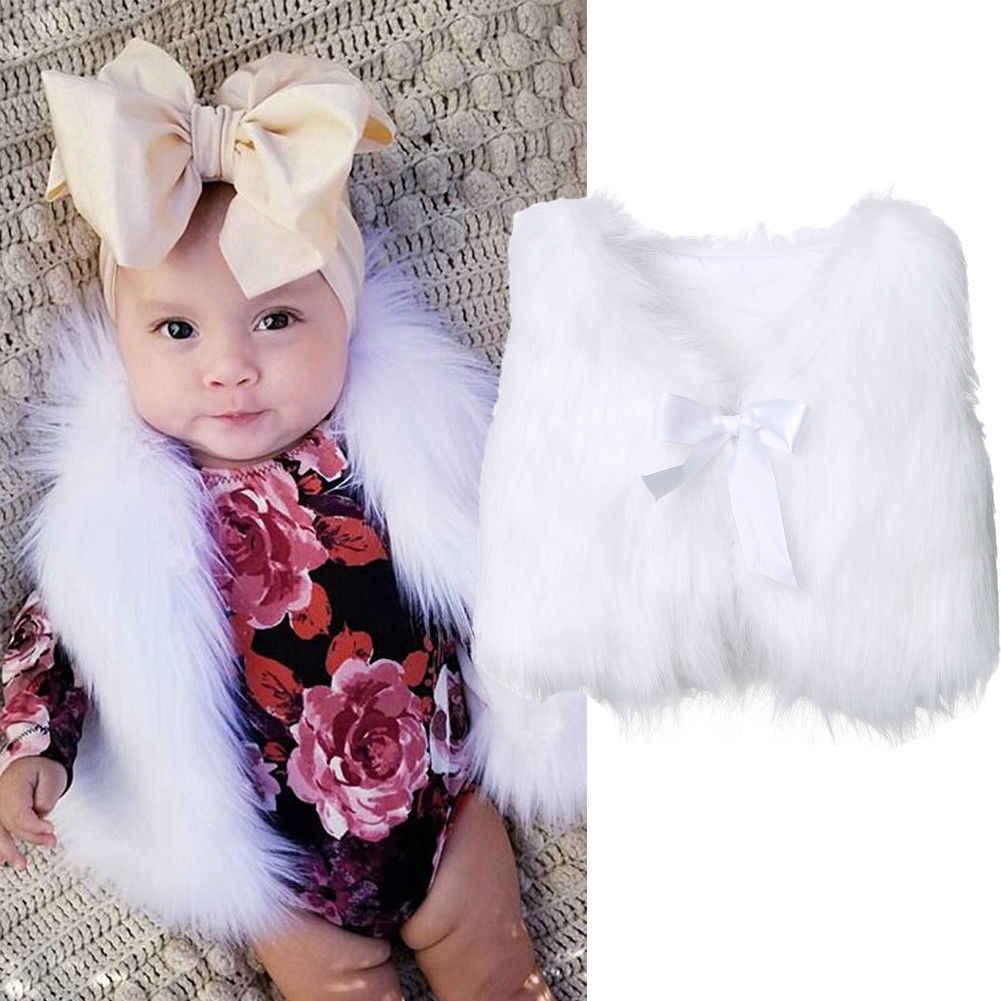 Yeni Toddler Bebek Kız Çocuklar Taklit Kürk Yelek Yelek Bebek Kız Sıcak Kış Yay Kemer Beyaz Ceket Dış Giyim Ceket