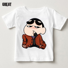 Spoof Crayon shin-chan clothing Japan anime Childrens t shirt Cartoon Girl shirts white top boy clothes Brand Clothing