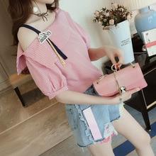 M Korean version of the summer tshirt word shoulder stripes loose commuter womens T-shirt