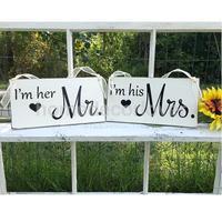 Wedding Wooden Mr Mrs Plaque Table Decor Standing Cards Wall Door Art Hanging Sign