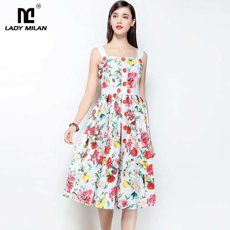 New Arrival 2018 Womens Spaghetti Straps Square Neckline Floral Printed Fashion Desinger Causal Dresses
