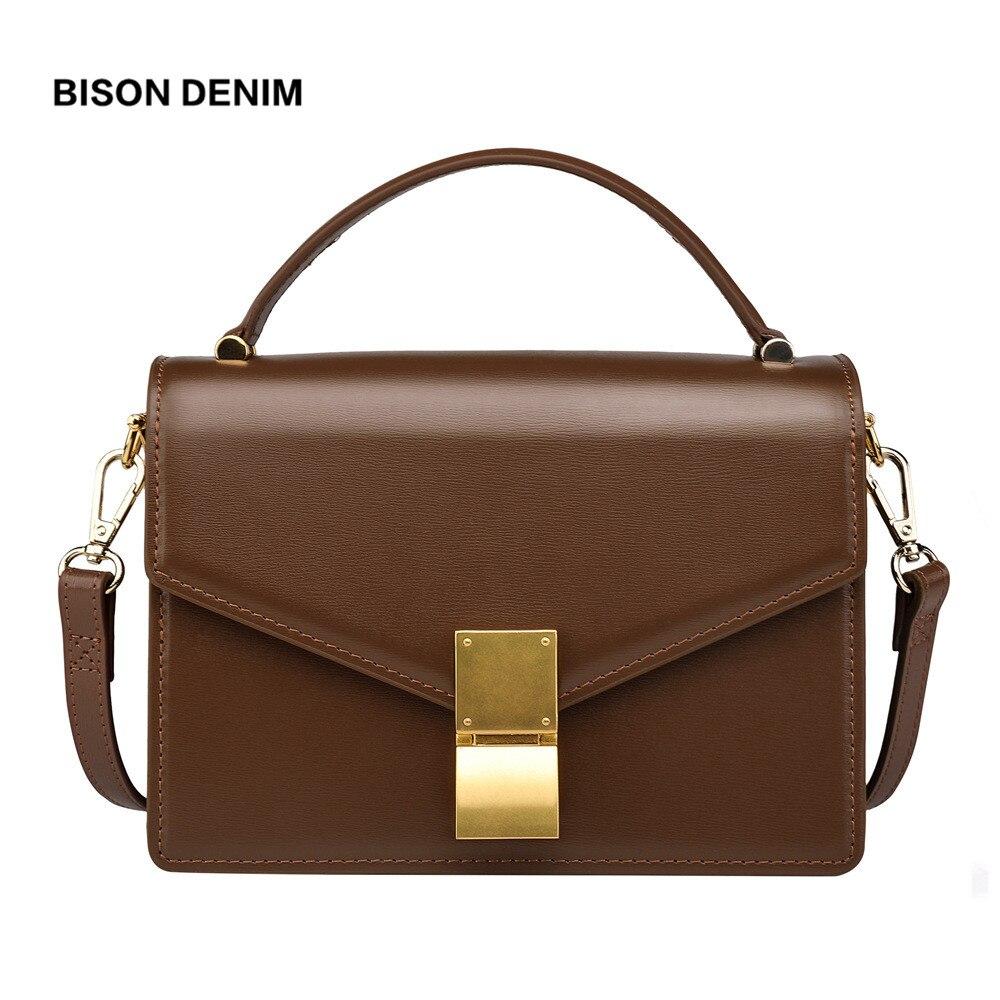 BISON DENIM Ladies Genuine Leather Women s Handbag Luxury Shoulder Bags for women 2018 Vintage crossbody