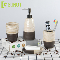 GUNOT 4pcs Ceramic Bathroom Set Home Washing Products Soap Dispenser/Toothbrush Holder/Tumbler/Soap Dish Bathroom Accessories