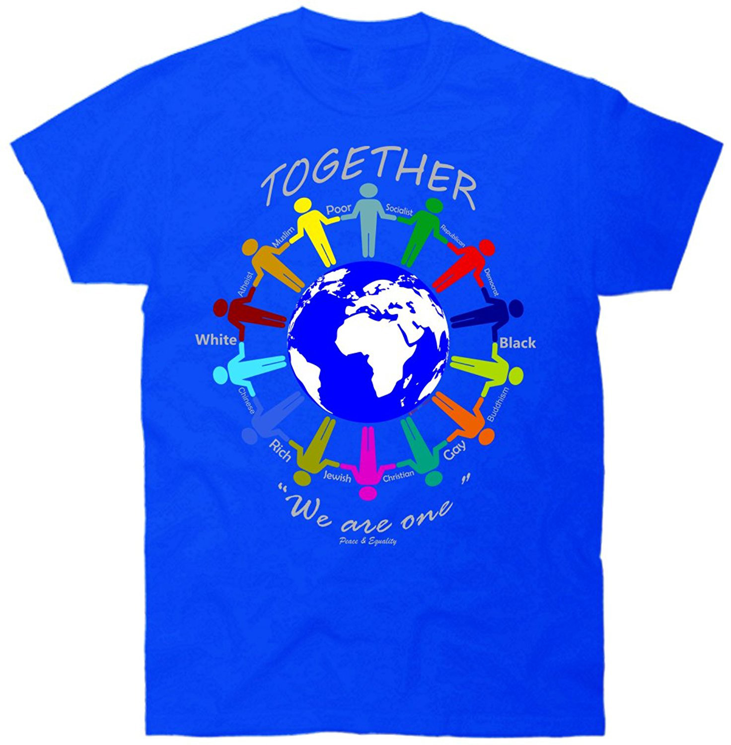 GILDAN T-shirt Summer Style Funny Together We Are One Peace Equality Stop Racism Hate T Shirt ...