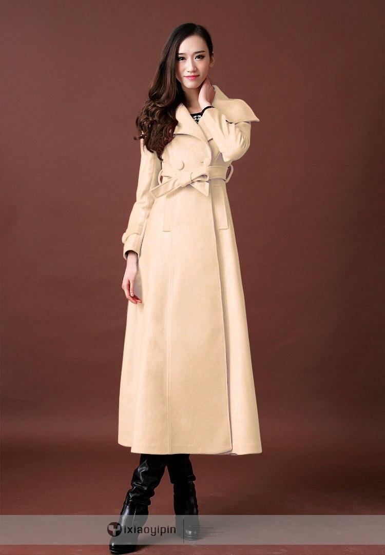 Новое осенне-зимнее шерстяное пальто ультра длинное дизайнерское утепленное шерстяное Женское пальто женское Шерстяное Пальто Верхняя одежда - Цвет: no cotton pad 06