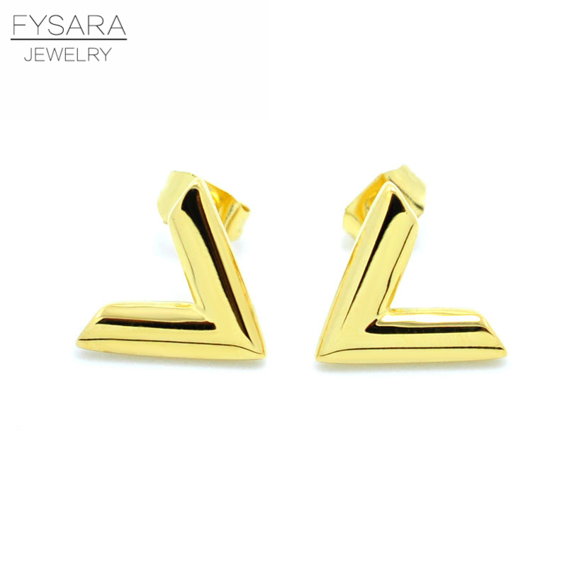 FYSARA Luxury Brand Jewelry Simple Design V Letter Earrings para - Bisutería - foto 2