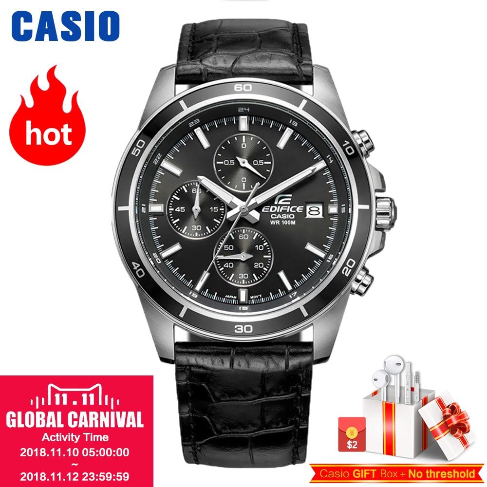 Часы Casio Edifice Мужские кварцевые спортивные часы кожаный ремешок стальной пояс бизнес водонепроницаемые часы EFR-526