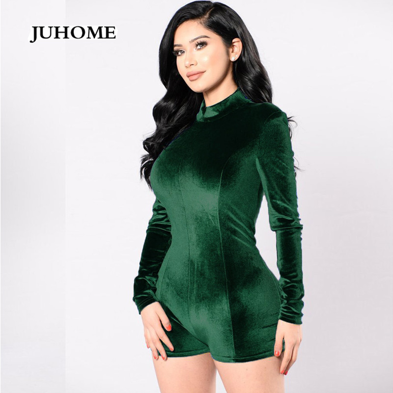 2017 new winter velvet bodysuit green overalls Casual macacao rompers women jumpsuit long sleeve combi short coveralls dungarees