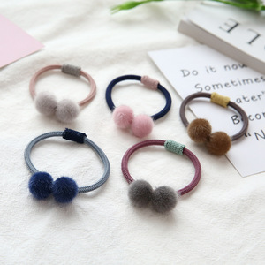Image 4 - Cute Little Girls Pompom Hair Ties Double Pom Pom Elastic Hair Band Hair Ropes Meatballs Headband Commonly Tool Hair Accessories