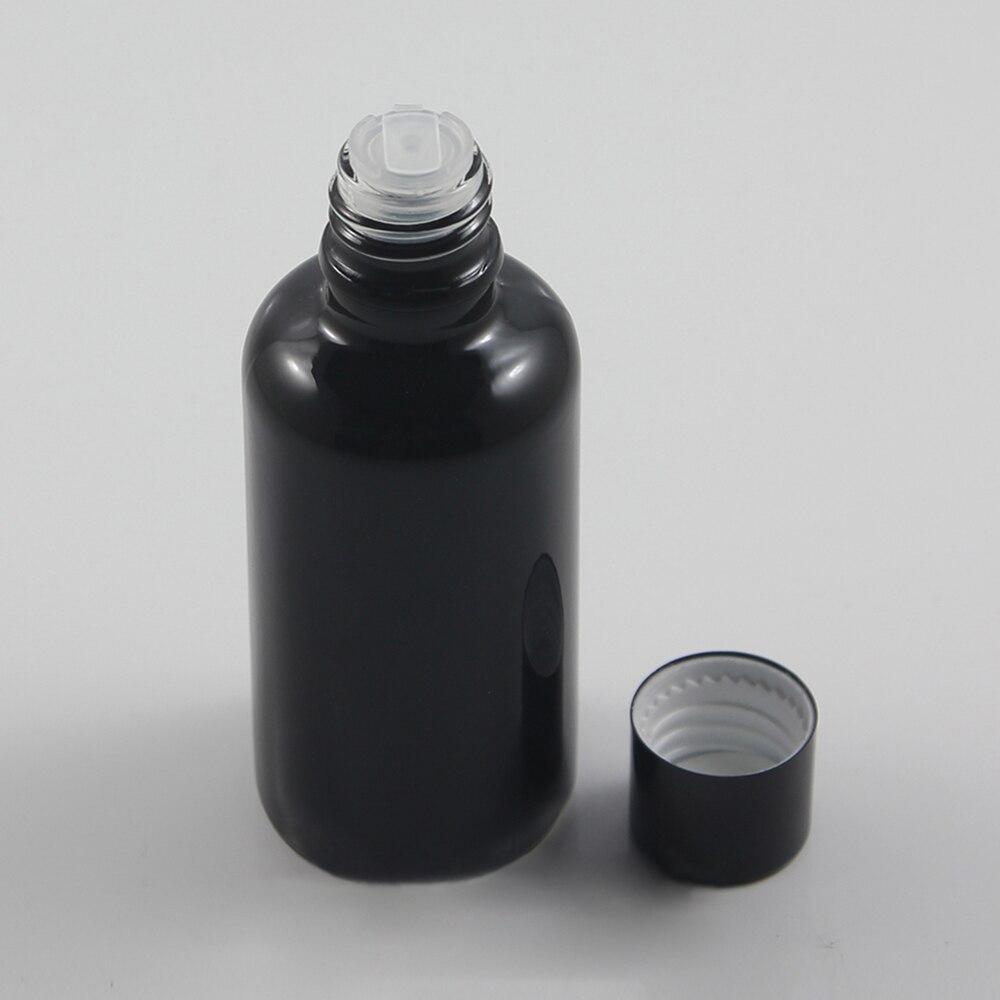 500pcs 50 ml black bottle with shiny black cap and insert 3